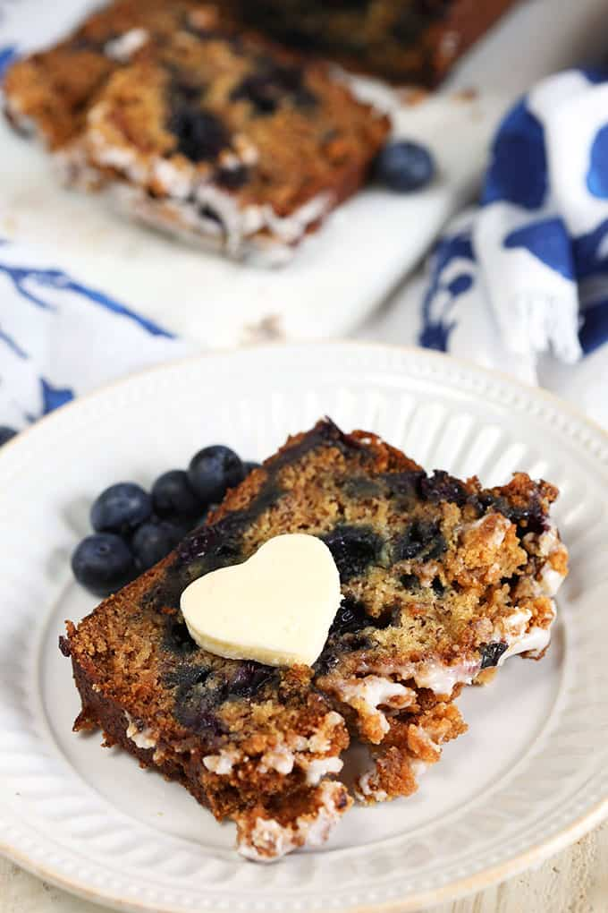 Blueberry banana bread with a pad of butter