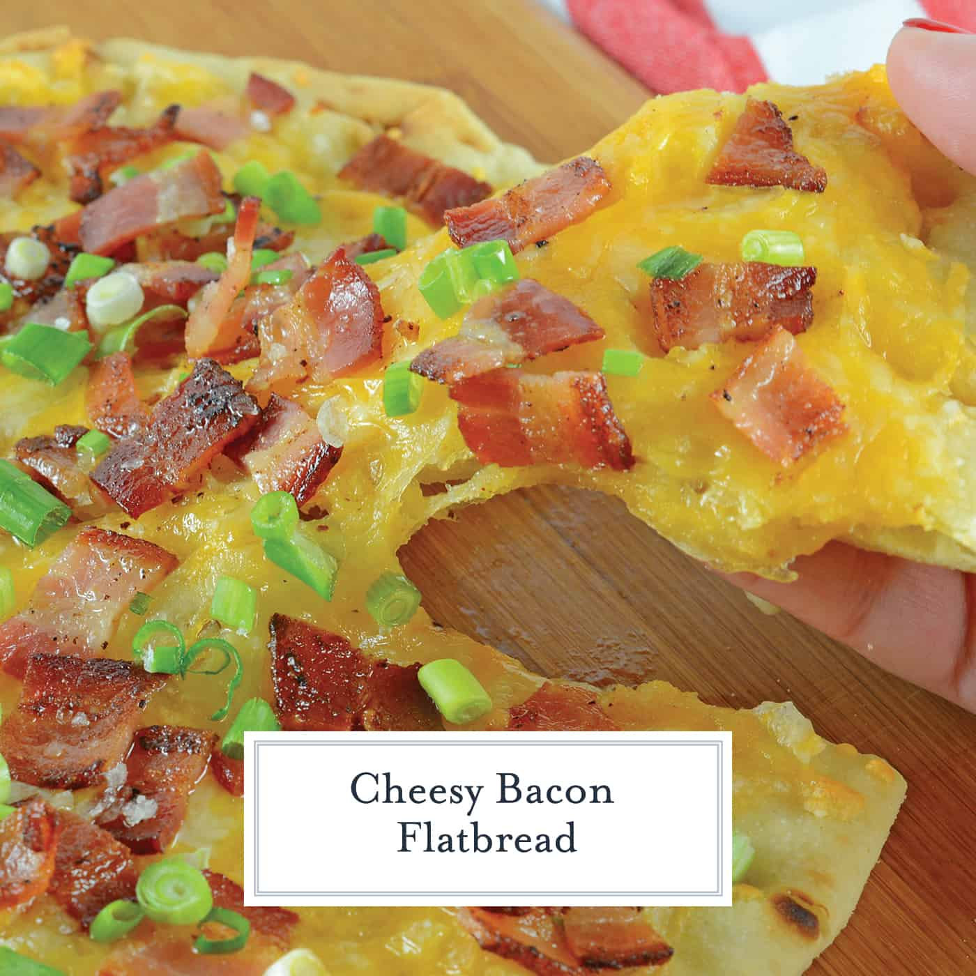 Bacon Cheddar Flatbread Pizza has just the right amount of bacon, cheese and garlic, this is a weeknight dinner that will be requested again and again! #flatbreadpizza www.savoryexperiments.com