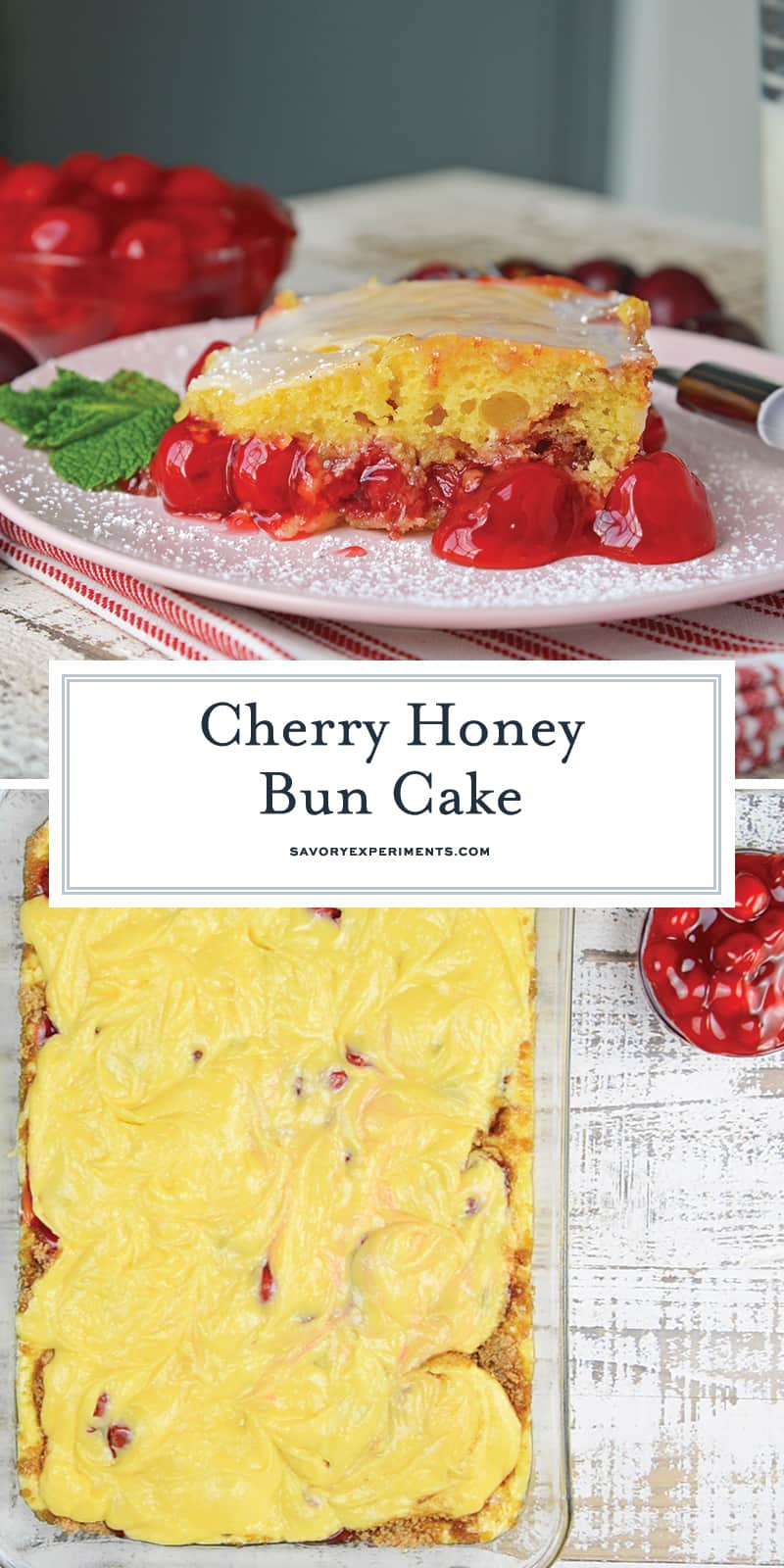 What is better than a Honey Bun Cake? A CHERRY Honey Bun Cake! Yellow cake mix laced with cinnamon, brown sugar and cherry pie filling, drizzled with almond glaze. #honeybuncake www.savoryexperiments.com