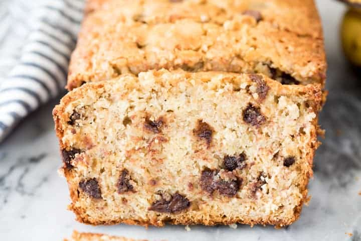 Chocolate chip banana bread cut into slices