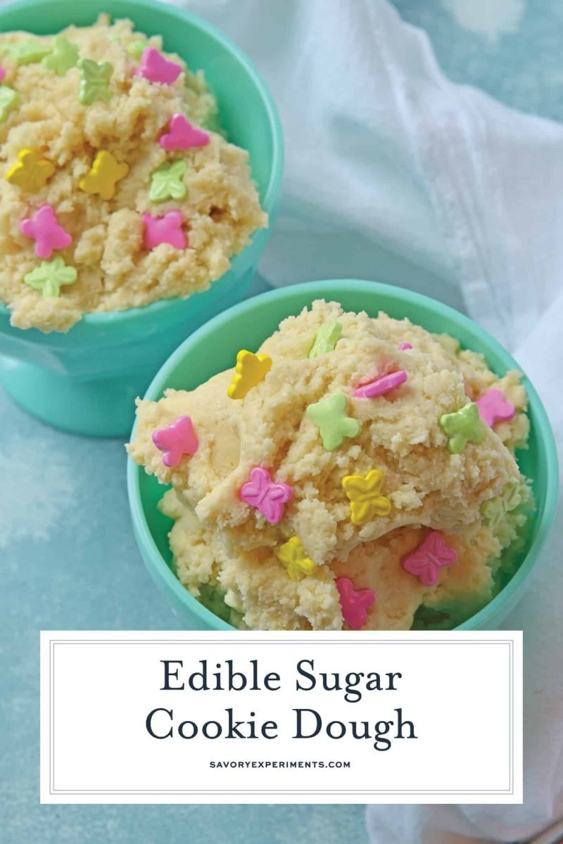 Edible sugar cookie dough in two bowls for Pinterest