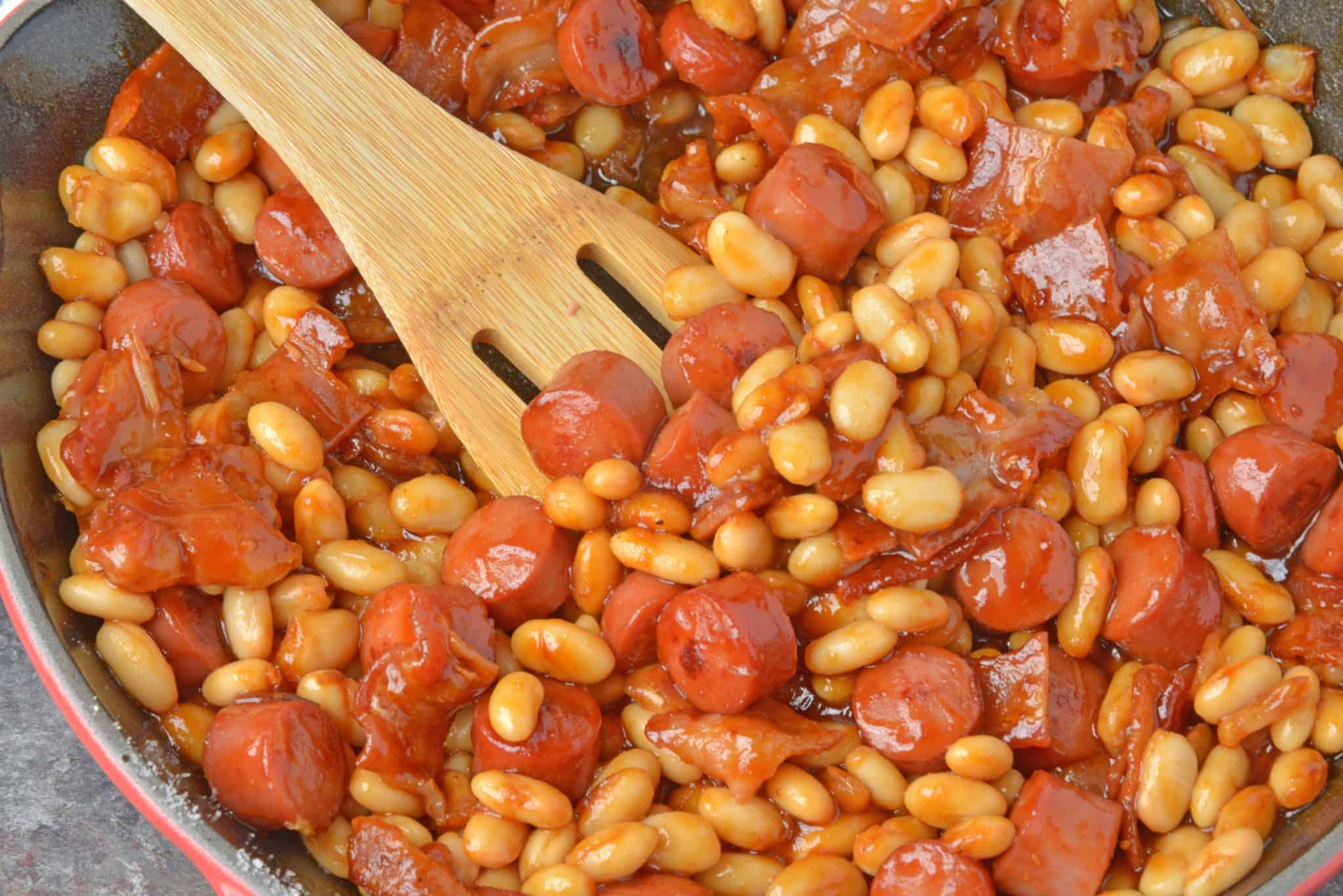 Franks and beans in a skillet