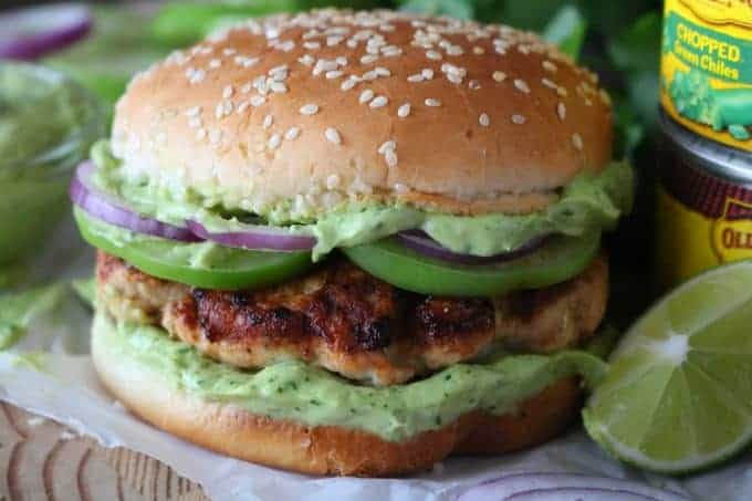 Close up of a green chili turkey burger