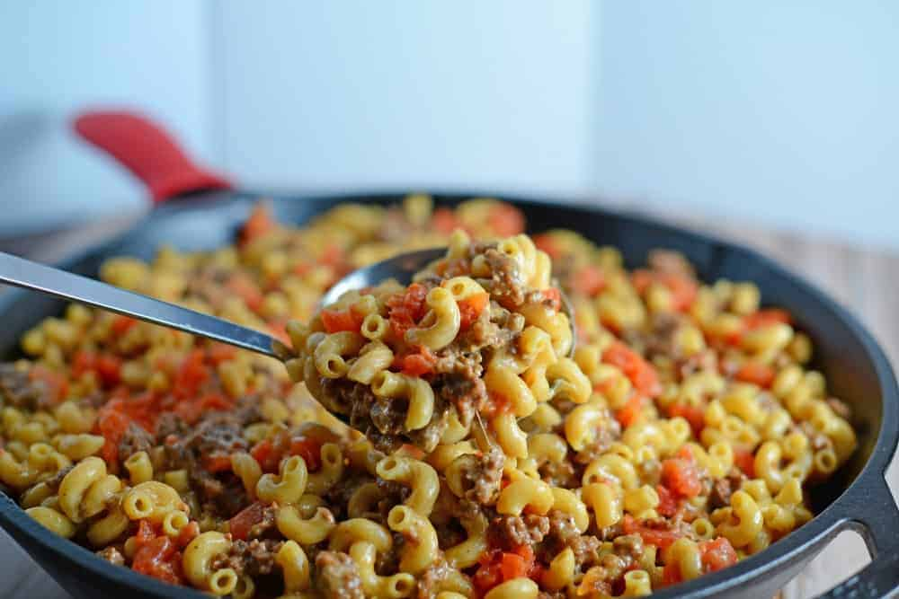 Hamburger helper in a skillet
