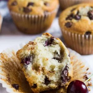 Half of a chocolate chip cherry muffin