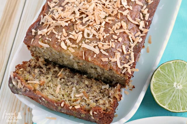 Lime in the Coconut Banana Bread Sliced with a lime