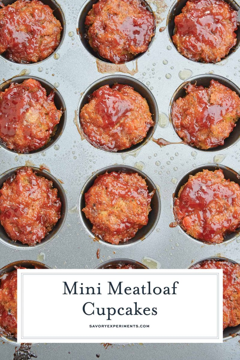 Using a simple meatloaf recipe, homemade meatloaf is turned into a mini version that is a fun meal for the whole family with these Mini Meatloaf Cupcakes. #meatloafmuffins #minimeatloaf #homemademeatloaf #simplemeatloafrecipe www.savoryexperiments.com