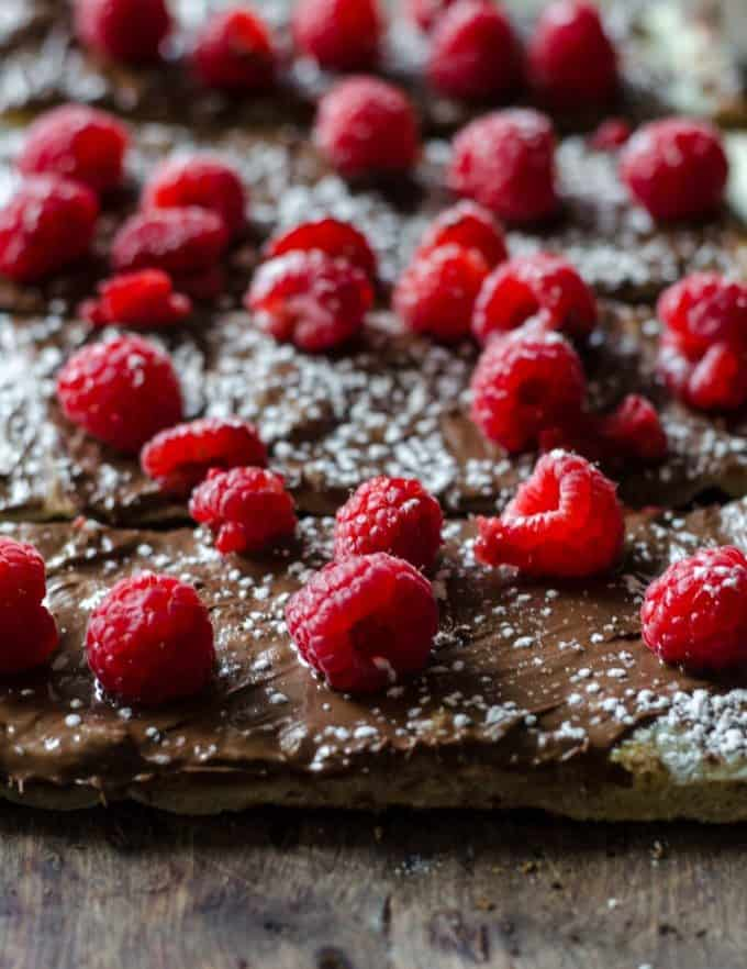 Close up of raspberry nutella pizza