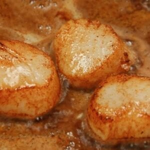 Pan Seared Scallops simmering in a pan