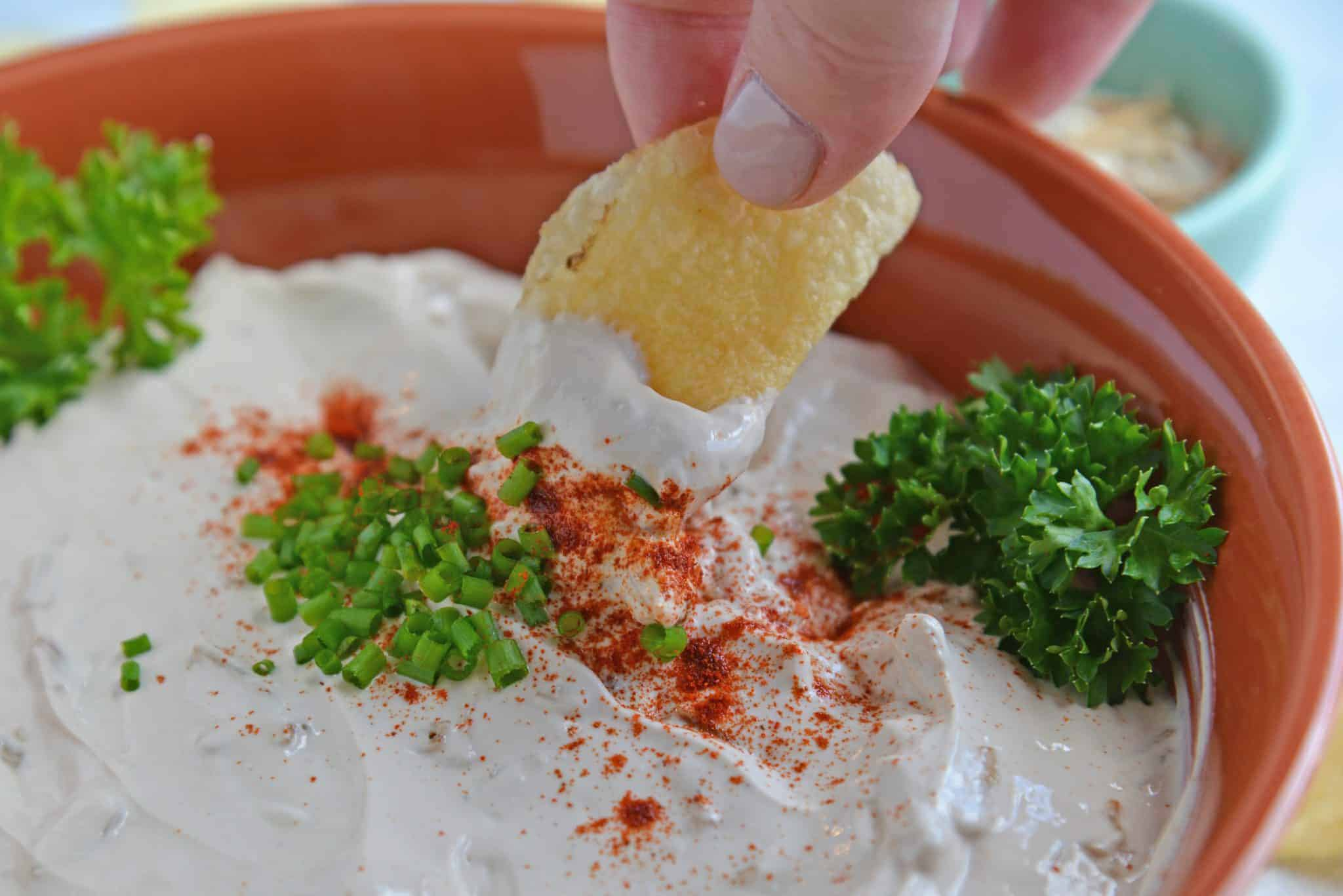 This French Onion Dip requires just 3 main ingredients and 5 minutes of prep. You'll never buy sour cream and onion dip from the store again! #frenchoniondip #partydip www.savoryexperiments.com