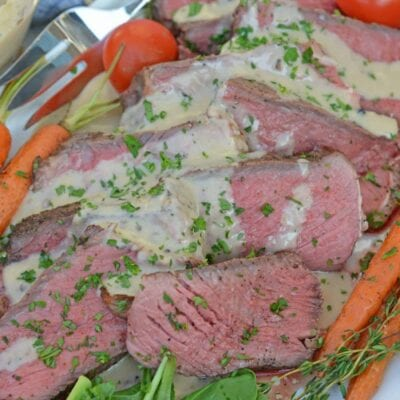 Sous Vide Steak au Poivre is a sous-vide steak recipe worthy of a random weeknight or a special occasion. New York strip is cooked to your perfect temperture smothered in a creamy Au Poivre Peppercorn Sauce. #sousvidesteak #steakaupoirve www.savoryexperiments.com