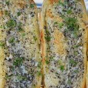 Truffle Butter Garlic Bread on pan