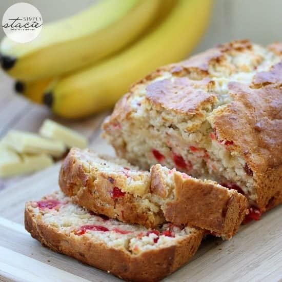 White chocolate cherry banana bread cut into slices