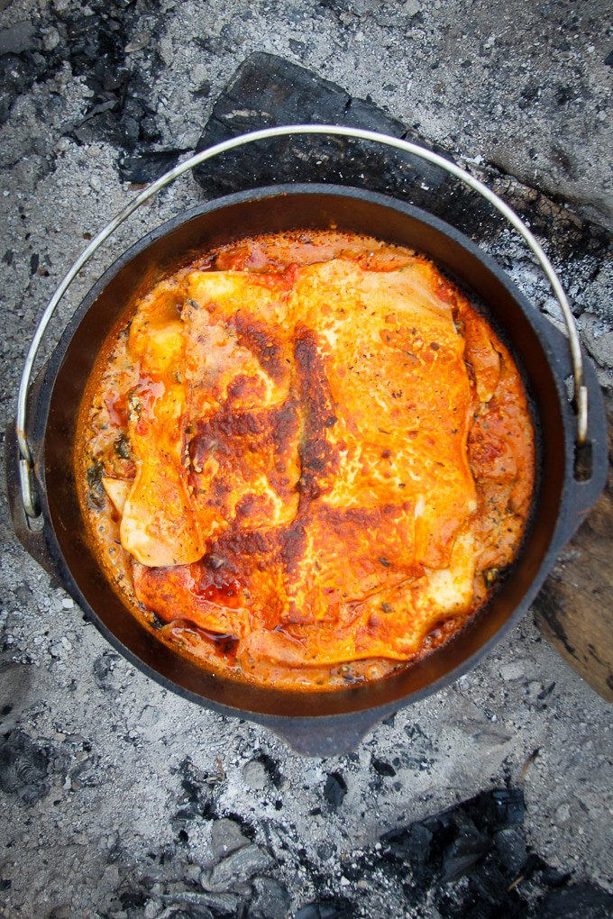 Campfire lasagna in a dutch oven
