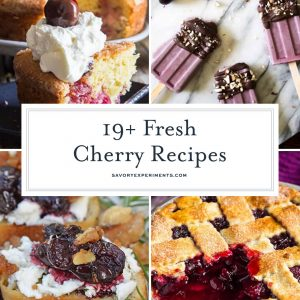 If you're looking for easy ideas to use up those fresh cherries, these are the BEST Fresh Cherry Recipes for summer! From healthy to savory, and even dessert recipes, this is your one stop shop for all things cherry! #freshcherrydessertrecipes #easycherryrecipes #freshcherryrecipes www.savoryexperiments.com