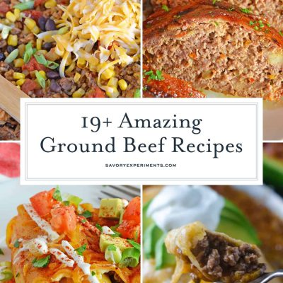 This collection of easy ground beef recipes provides a cheap solution for dinner! From a casserole to pasta and everything in between, these are the best ground beef recipes. #mealswithgroundbeef #recipeswithgroundbeef #easygroundbeefrecipes www.savoryexperiments.com