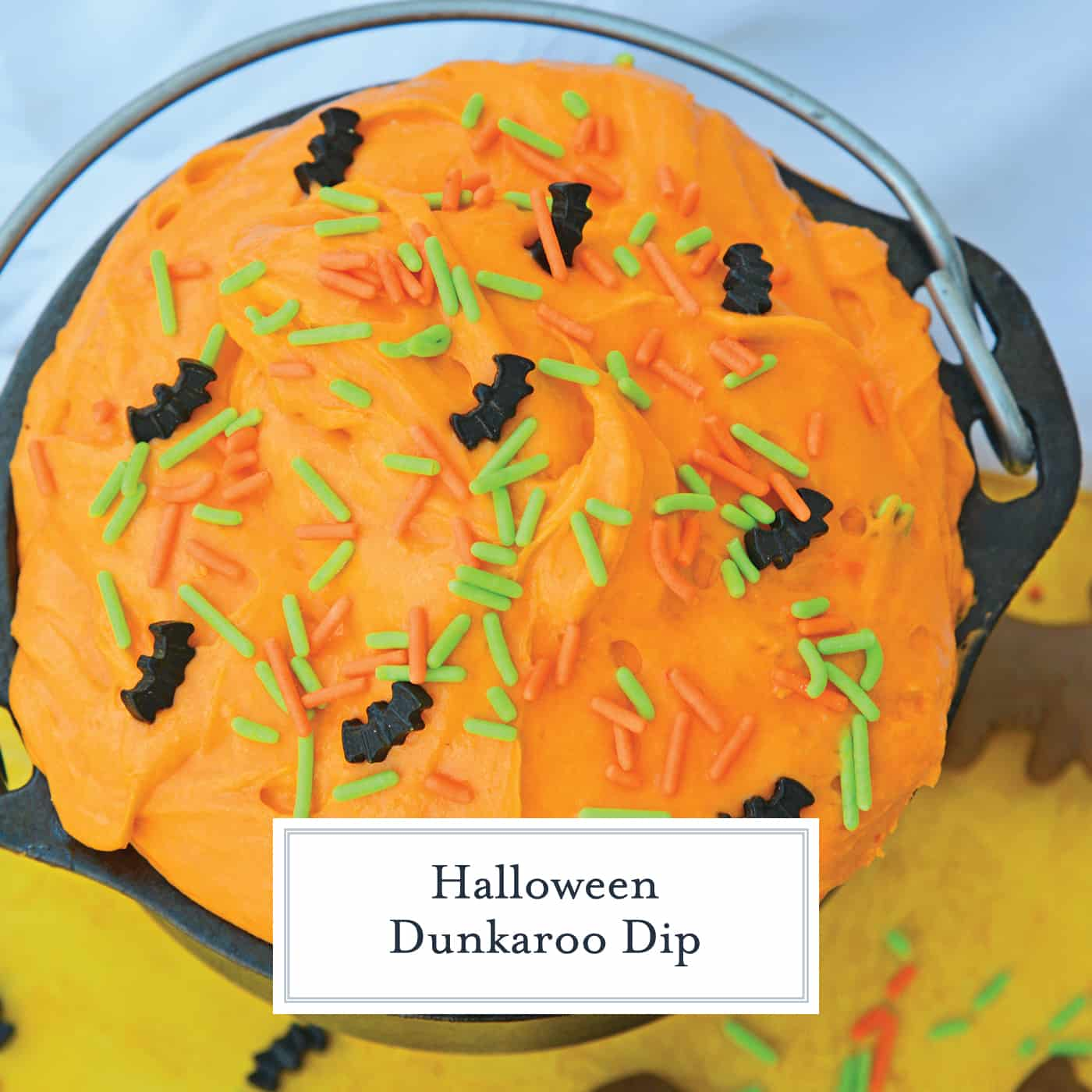Halloween Dunkaroo Dip is a quick and easy cake batter dip that will become one of your go-to recipes for Halloween parties. #dunkaroodip #cakebatterdip www.savoryexperiments.com