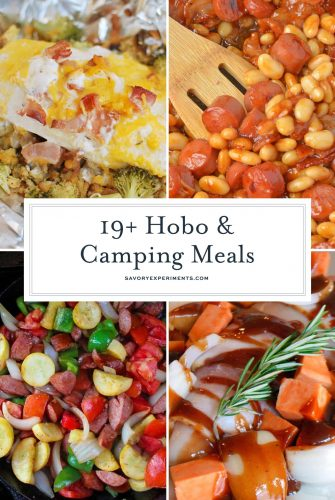 Easy meals to cook while camping are essential-that's where hobo meals come in. These hobo dinner ideas and other camping recipes are the best camping meals! #hobodinnerrecipe #howtomakehobodinners #whatisahobodinner www.savoryexperiments.com