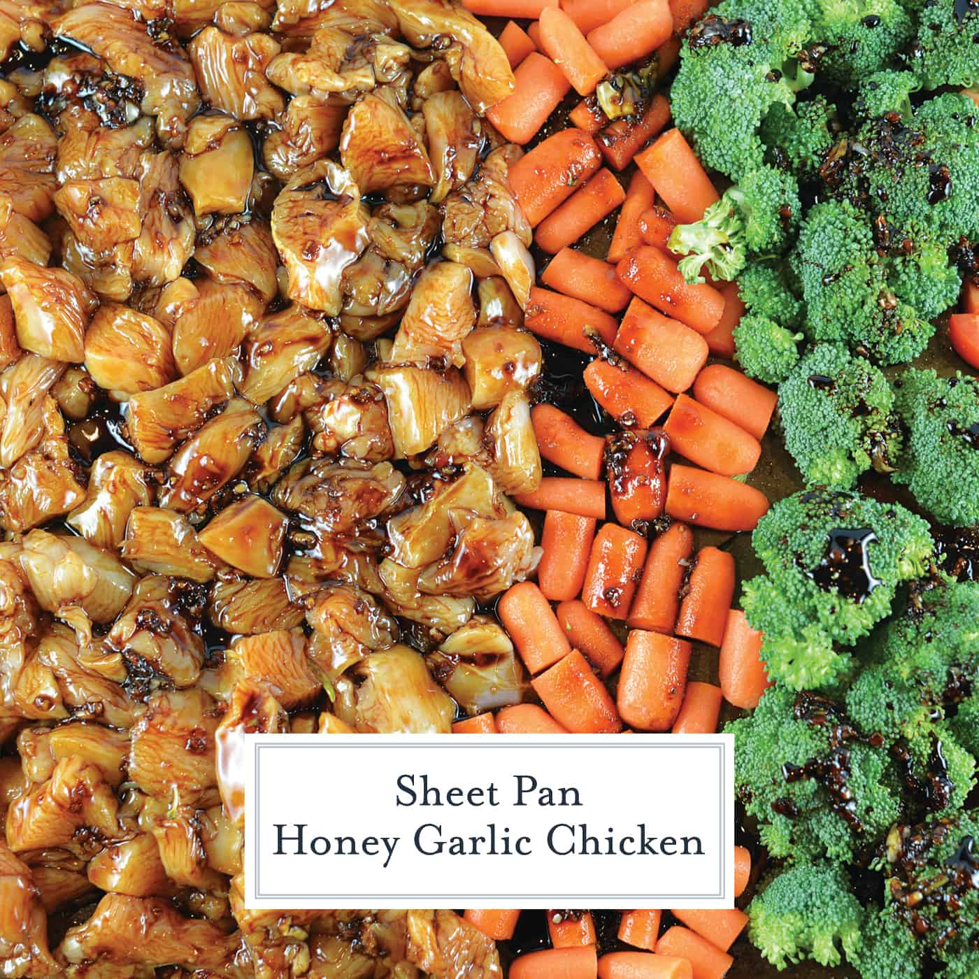 Sheet Pan Honey Garlic Chicken is an easy sheet pan dinner that's packed with flavor. An easy chicken recipe ready in just 30 minutes. #sheetpanmeals #honeygarlicchicken #easychickenrecipe www.savoryexperiments.com