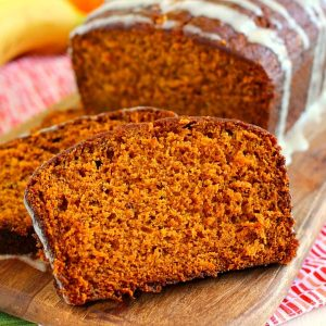 Close up of a slice of pumpkin banana bread