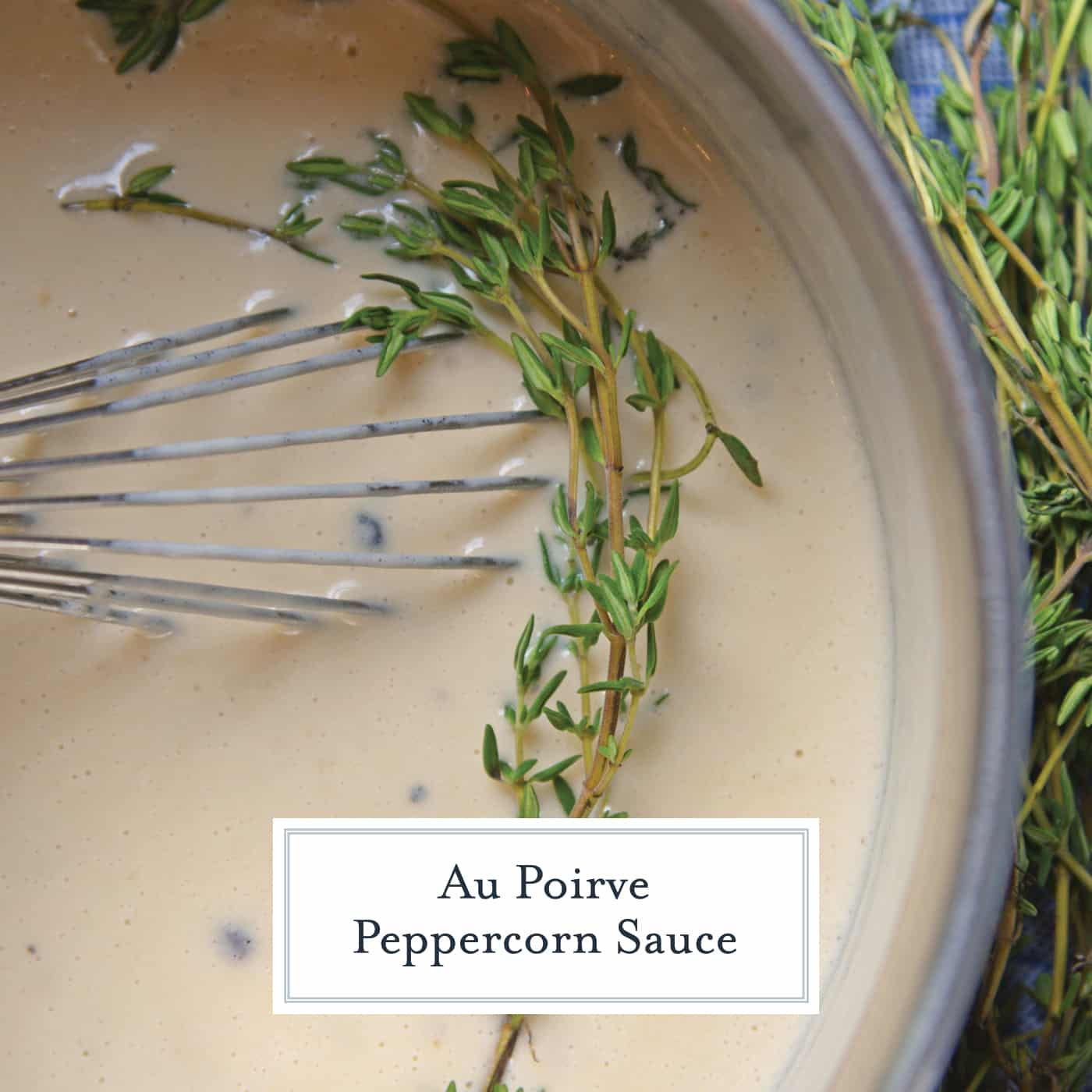 Au Poivre Peppercorn Sauce for steak can also be used for chicken or vegetables. An easy, creamy beef sauce spiked with peppercorns and Dijon mustard. #steaksauce #aupoivresauce #peppercornsauce www.savoryexperiments.com