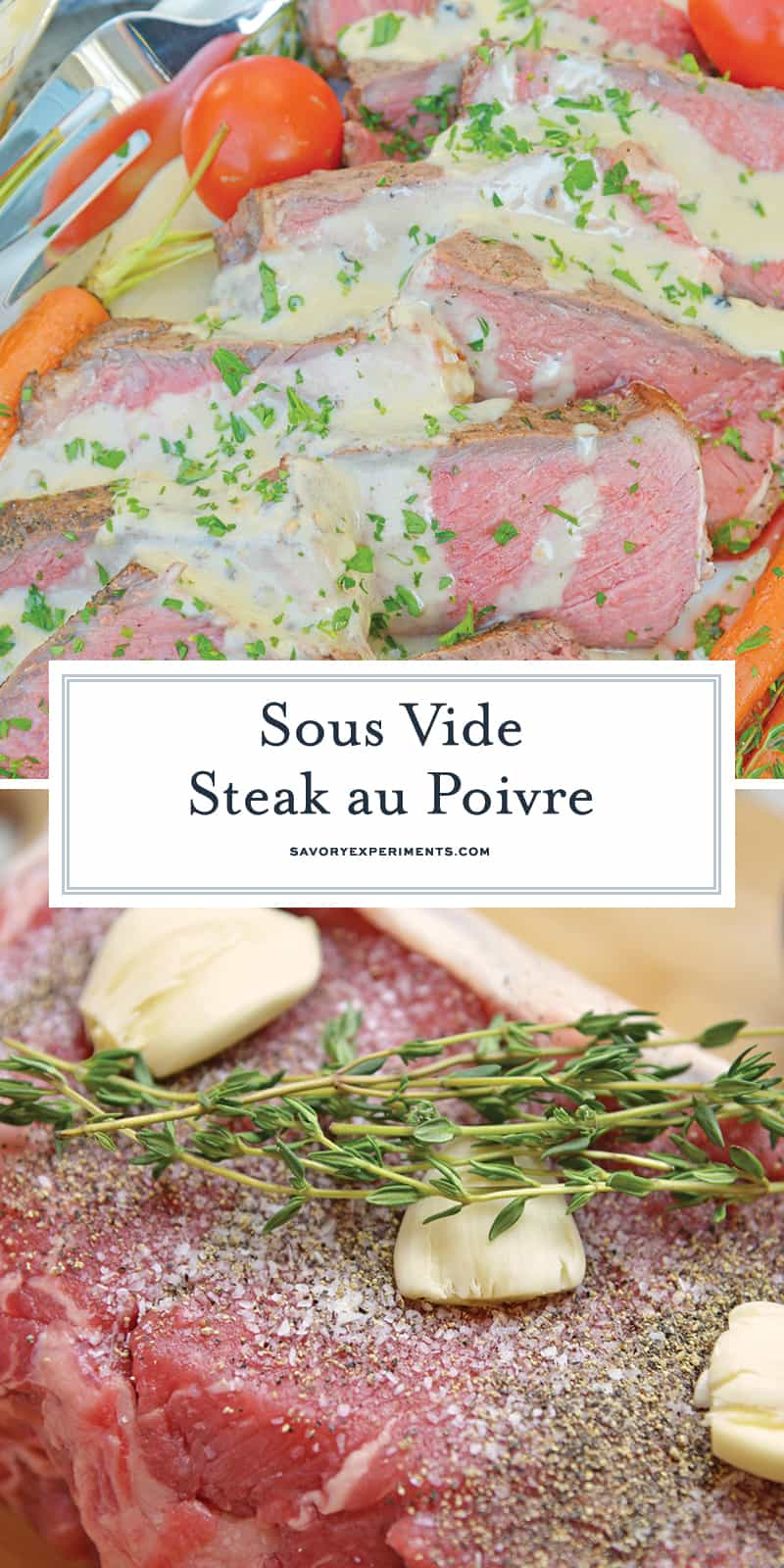 Sous Vide Steak Au Poivre is a sous-vide steak recipe worthy of an easy weeknight meal or a special occasion. New York strip is cooked to the perfect temperature and smothered in a creamy Au Poivre Peppercorn Sauce. #sousvidesteak #steakaupoirve www.savoryexperiments.com