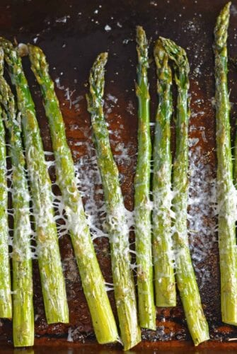 This delicious Asiago Asparagus is a quick and easy roasted asparagus recipe requiring only 4 ingredients and 15 minutes to prepare. #howtomakeasparagus #roastedasparagus www.savoryexperiments.com