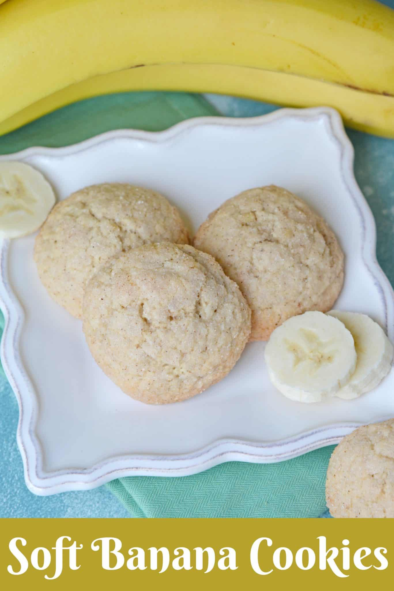These Soft Banana Cookies will become your favorite thing to make with overripe bananas! They're soft, chewy and delicious - great with a glass of milk! #bananacookierecipe #bananacookies www.savoryexperiments.com