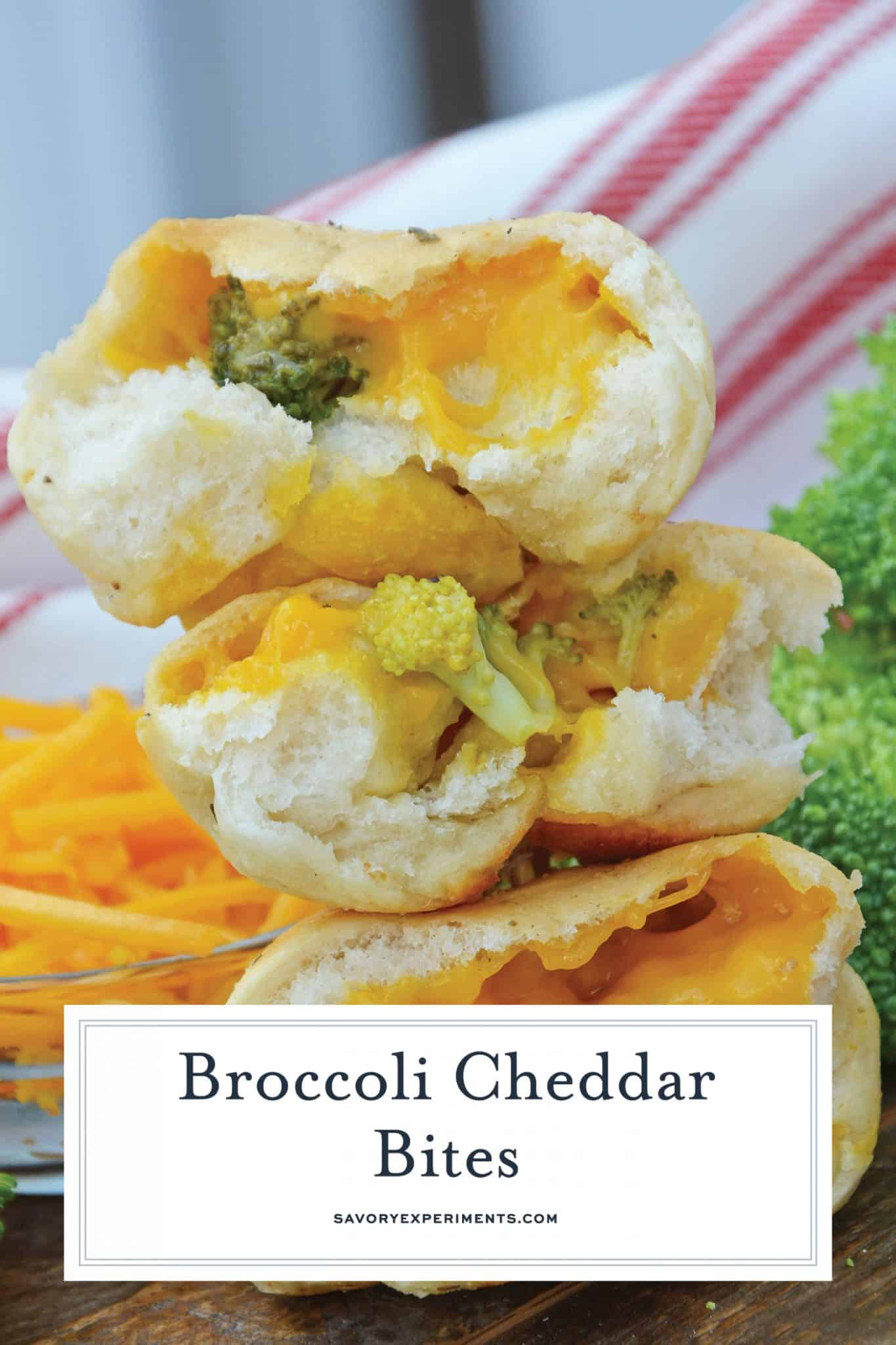 Broccoli Cheddar Bites are pizza dough stuffed with gooey plant-based cheddar shreds, broccoli and topped with a vegan garlic butter sauce. www.savoryexperiments.com