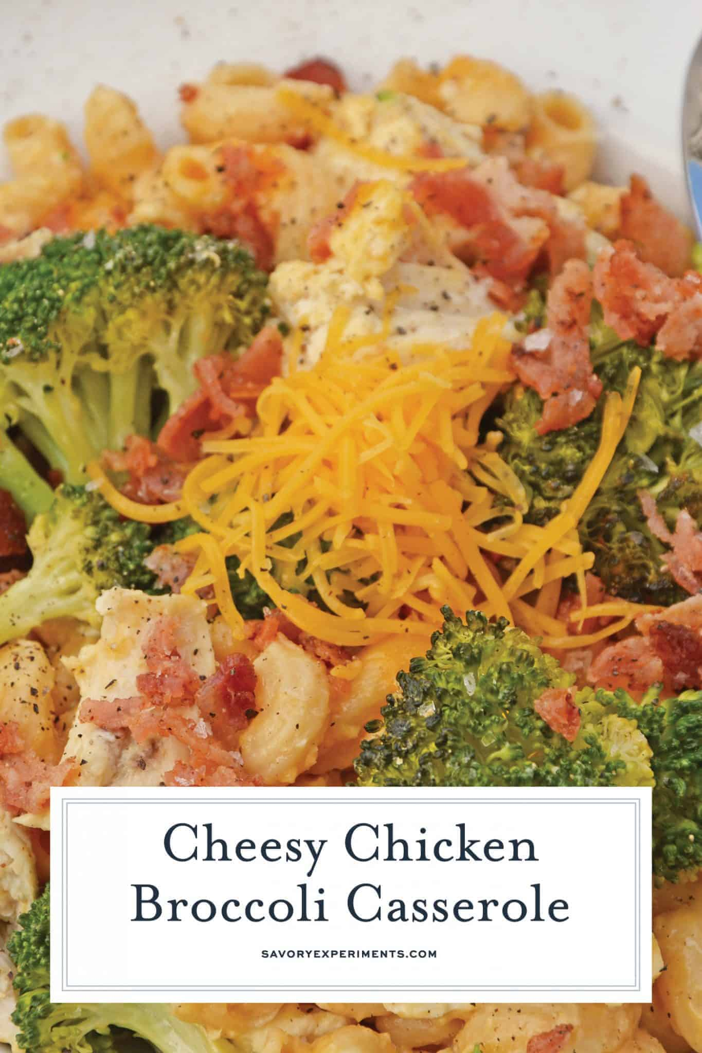 This Chicken Broccoli Casserole will be your new go-to easy dinner! Using leftover baked mac and cheese, this will be a meal you will make again and again! #chickencasserole #broccolicasserole #chickencasserolerecipes www.savoryexperiments.com