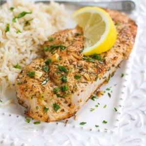Lemon herb pork chops with rice