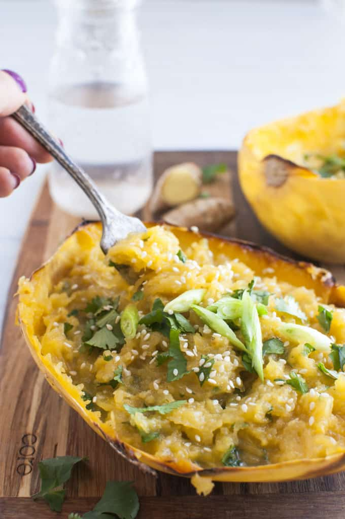 Ginger miso spaghetti squash on a fork