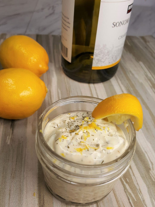 Lemon dill aioli with a lemon wedge