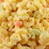 Extreme close up of classic Macaroni Salad