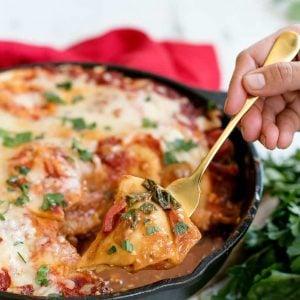 Pierogi lasagna in a skillet