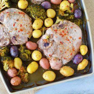 Sheet pan pork chops with rainbow potatoes