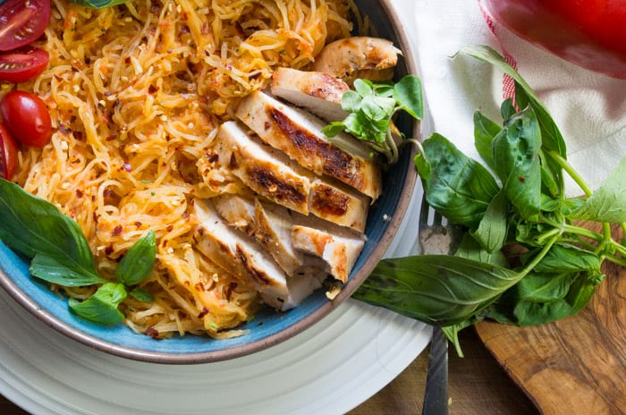 Roasted red pepper spaghetti squash pasta with chicken