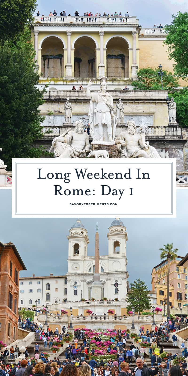 Plan your long weekend in Rome with this easy itinerary that covers all the main attractions in just 2 1/2 days and all by walking! #romeitaly #triptoitaly www.savoryexperiments.com