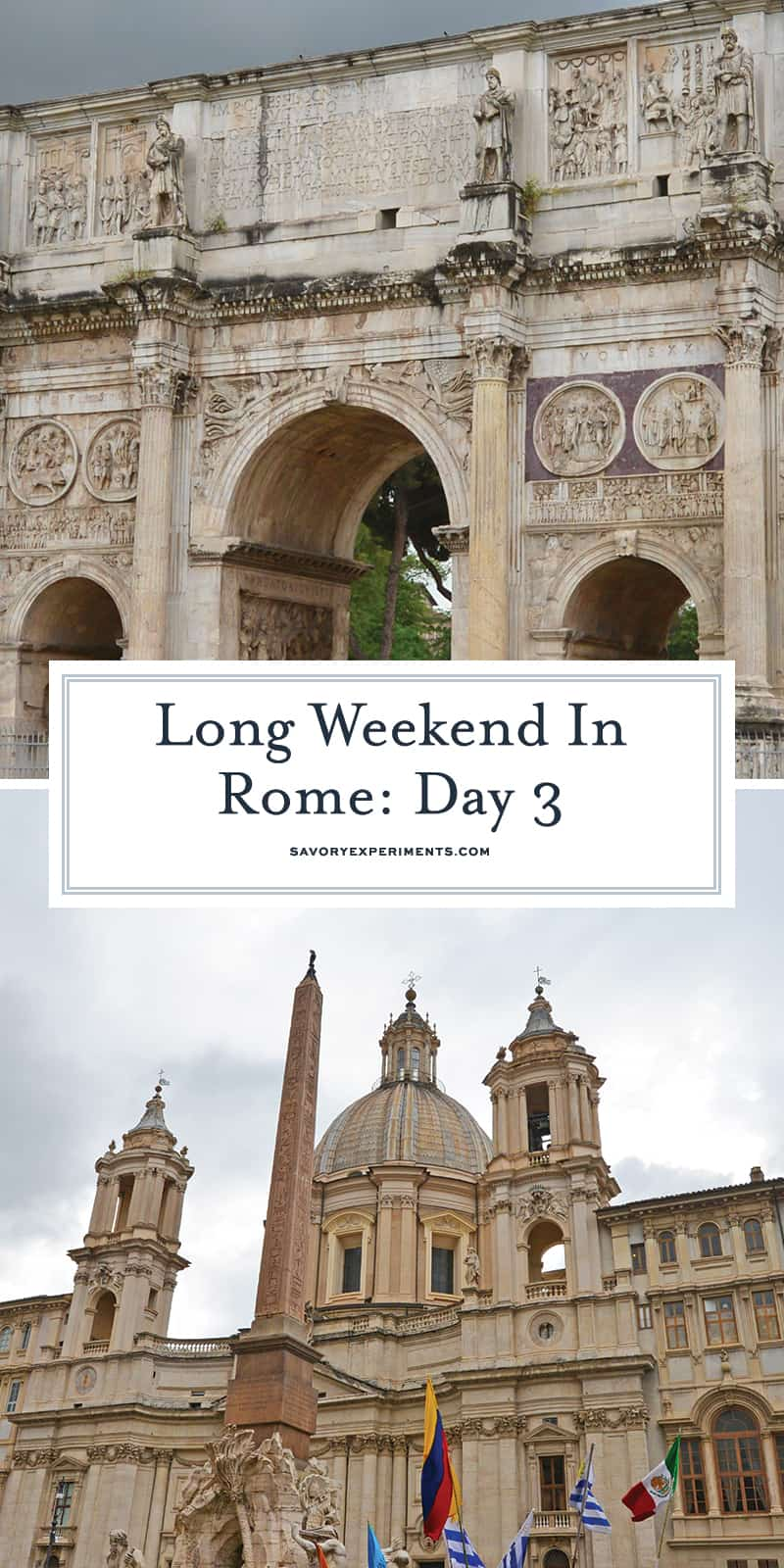 Day 3 of your Rome walk tour covers the Colosseum, Roman Forum, Palatine Hill, Arch of Constantine. Walk with the gladiators! #romewalkingtour #romeitaly www.savoryexperiments.com