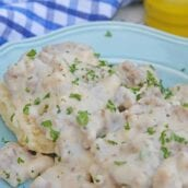 Creamy Sausage Gravy, a simple recipe made from pork sausage and cream and a few other ingredients, is a Southern staple. Serve over warm biscuits,  fried chicken or chicken fried bacon. #sausagegravy #breakfastgravy www.savoryexperiments.com