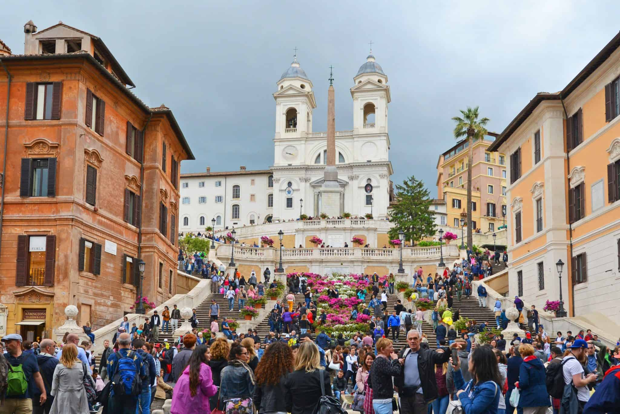 Spanish Steps: Designed in the early 1700's, but not built until 1723-1725, the Spanish Steps are the widest stairway in Europe. It was built in order to link the the Trinità dei Monti church that was under the patronage of the king of France, with the Spanish square below.