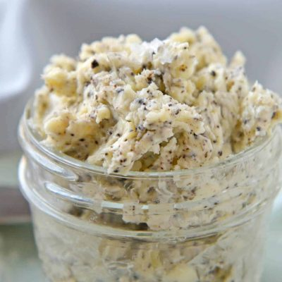 This Homemade Black Truffle Butter is so easy to make! Only 3 ingredients and a few minutes needed. You'll never get it at the store again! #trufflebutter #blacktrufflebutter #whatistrufflebutter www.savoryexperiments.com
