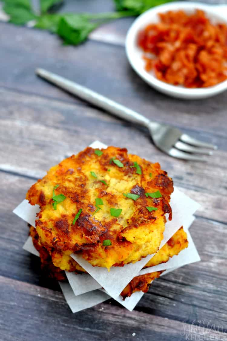A stack of bacon cheddar spaghetti squash fritters