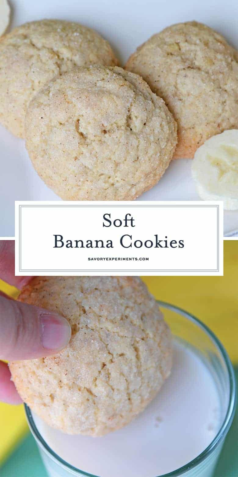 Collage of Soft Banana Cookies for Pinterest