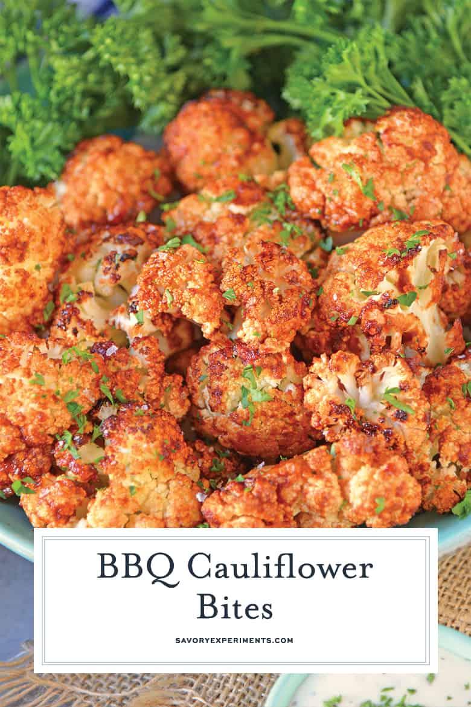 BBQ Cauliflower Bites on a blue serving platter