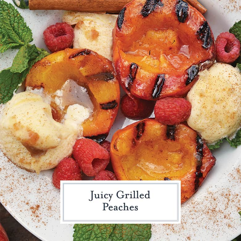 Close up of juicy grilled peaches