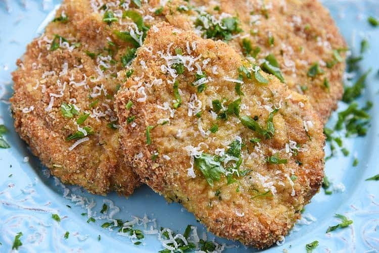 Close up of parmesan crusted pork chops