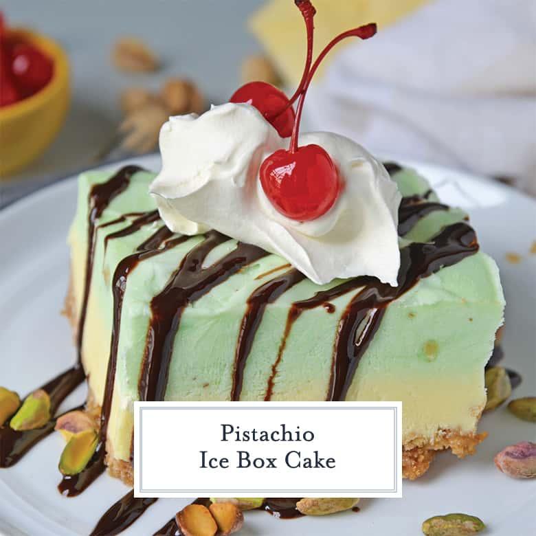 Side image of pistachio ice box cake