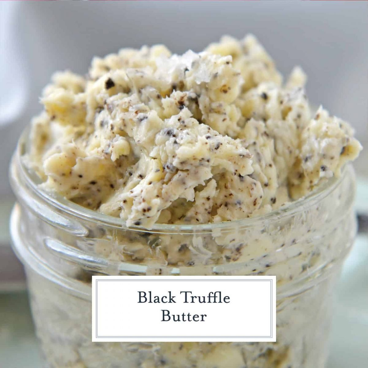 Truffle butter in a glass bowl