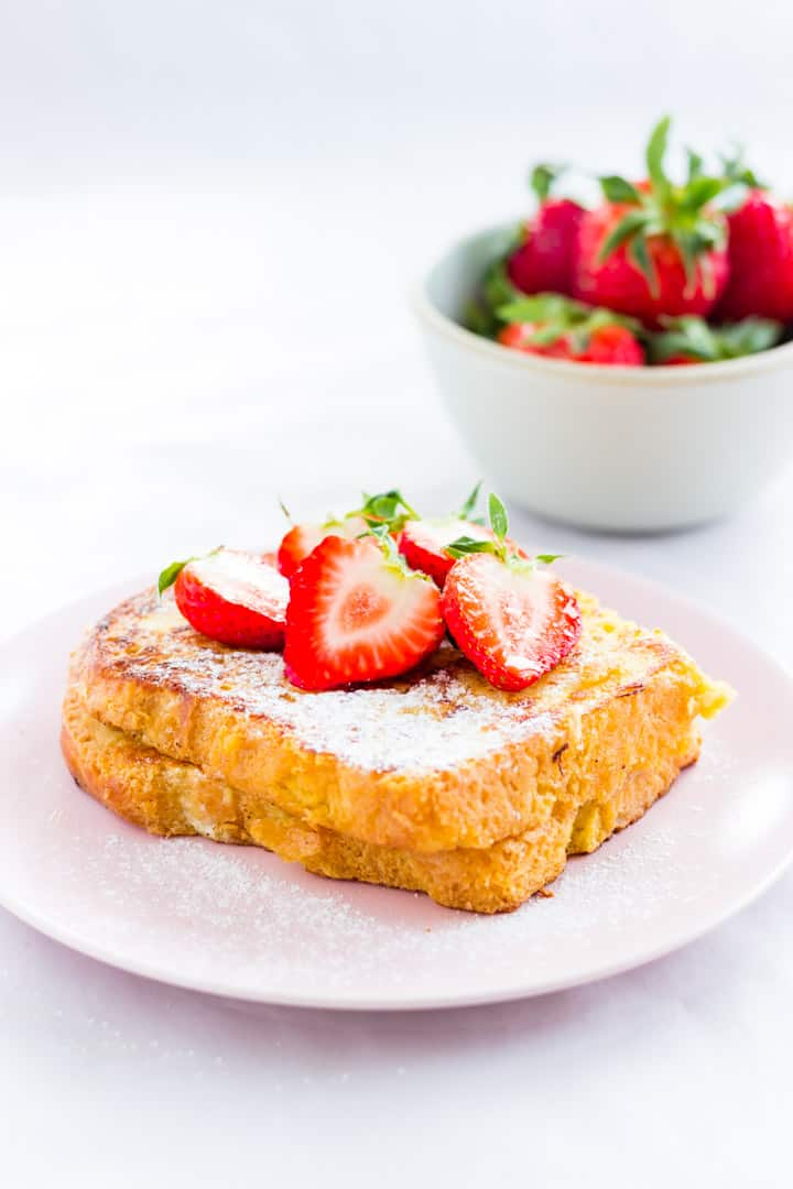 Brioche french toast topped with strawberries